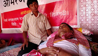 Gorkha Jan Kalyan Manch (GJKM) president Krishna Chettri on hunger strike for gorkhaland
