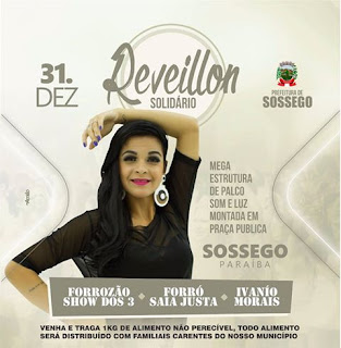Réveillon solidário terá três grandes atrações musicais em Sossego