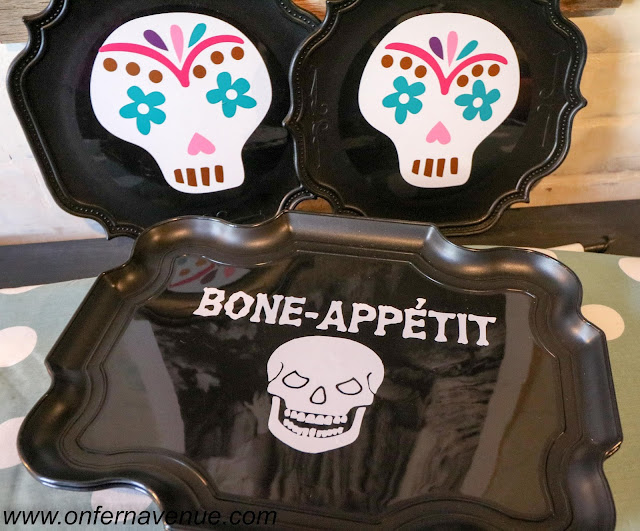 halloween trays made with outdoor premium adhesive vinyl