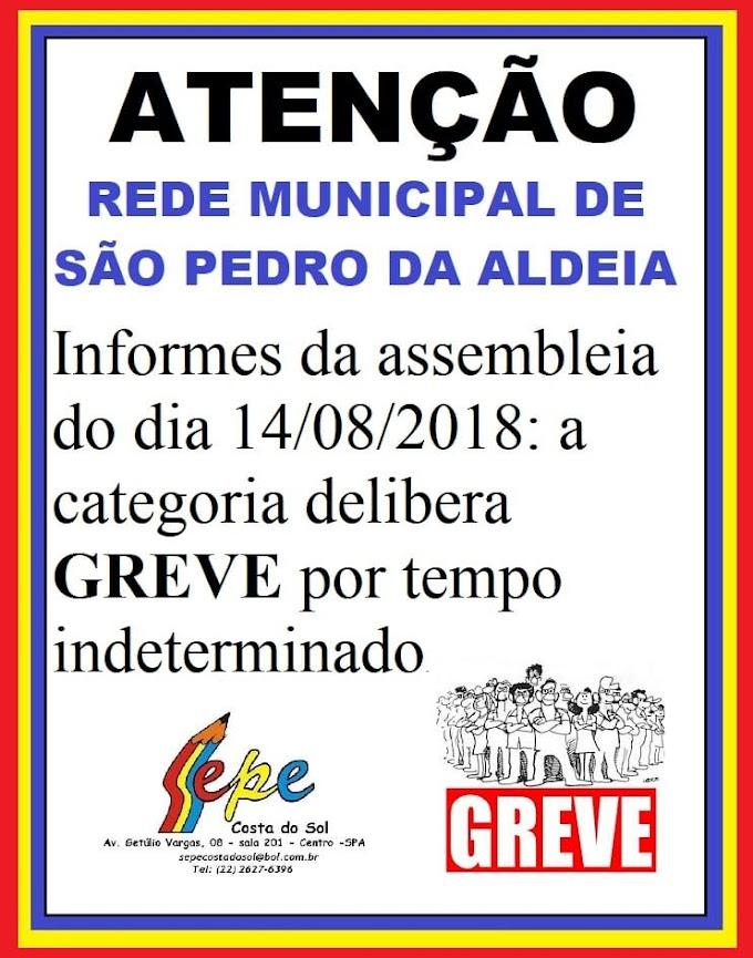 Sindicato dos Professores aprova greve a partir do dia 20/08 em São Pedro da Aldeia