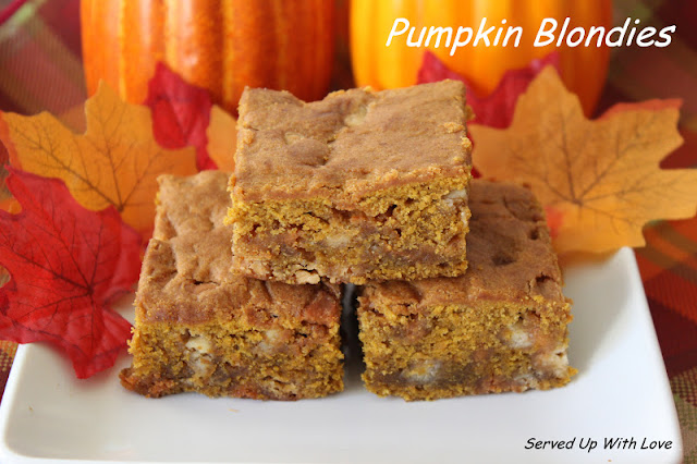 Pumpkin Blondies recipe from Served Up With Love