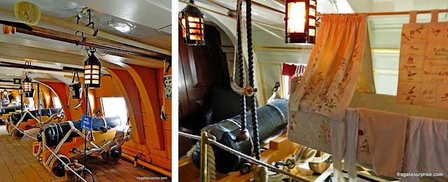 Bateria de canhões do HMS Victory e o dormitório do Almirante Nelson