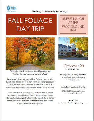 Reminder: New Hampshire Fall Foliage Day Trip - Oct 20