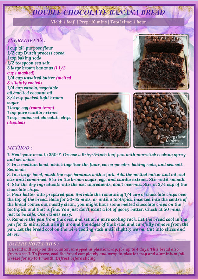 DOUBLE CHOCOLATE BANANA BREAD RECIPE