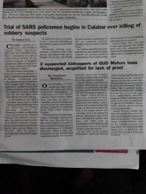 VANGUARD CORRESPONDENTS IN CALABAR CONNIVES WITH KILLER POLICE OFFICERS AND JUDGES TO REPORT FALSEHOOD