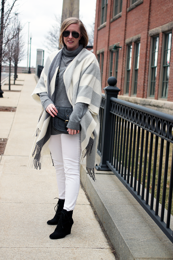 hm striped poncho, striped grey poncho, grey turtleneck and poncho, boston style blogger, what i wore, on the blog, winter white skinny jeans, shades of grey outfit, boston fashion blog, fashion blogger massachusetts