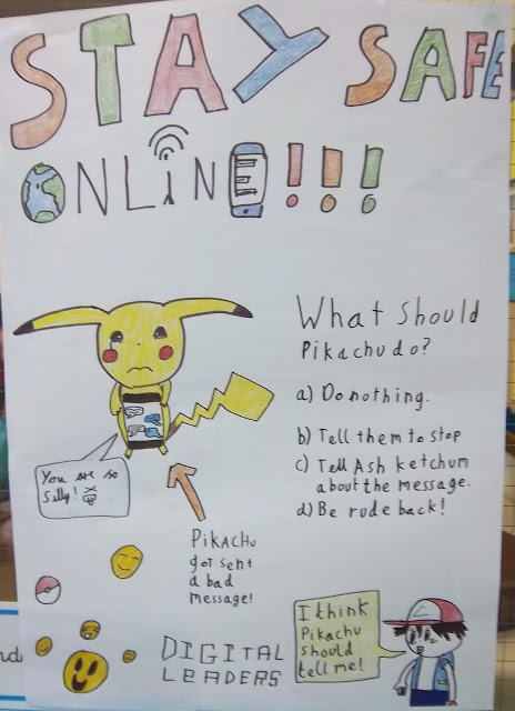 Handrawn internet safety poster, fetauring Pikachu
