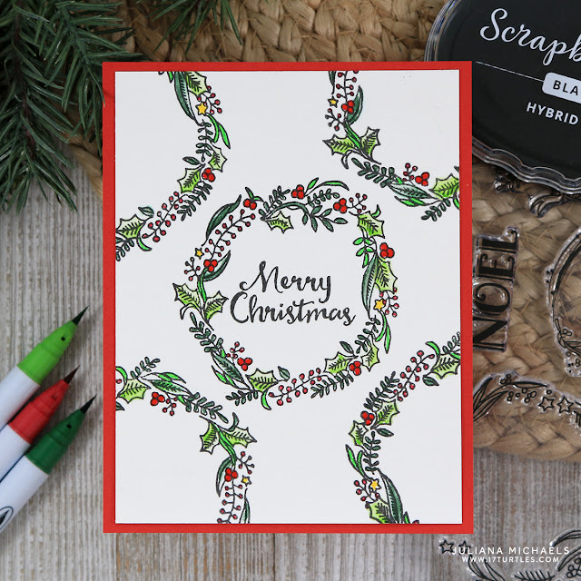 One Layer Rustic Wreath Christmas Card by Juliana Michaels featuring Scrapbook.com Rustic Wreath Stamp Set and Premium Black Hybrid Ink