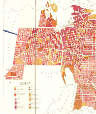 Map showing land uses in different shades of red, orange, and yellow from Lyon Street to the west end of the pre-1950 city limits. There is a large diamond of uncoloured area where the east-west rails along Scott Street and the norht-south rails (current O-Train Trillium line) intersect and met at railyards.