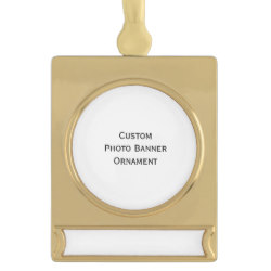 Custom Gold Plated Banner Photo Christmas Ornament