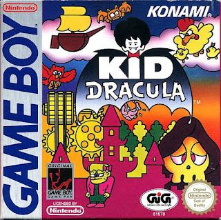 Portada del cartucho del spin-off de Castlevania para GameBoy: Kid Dracula (Konami, 1993)