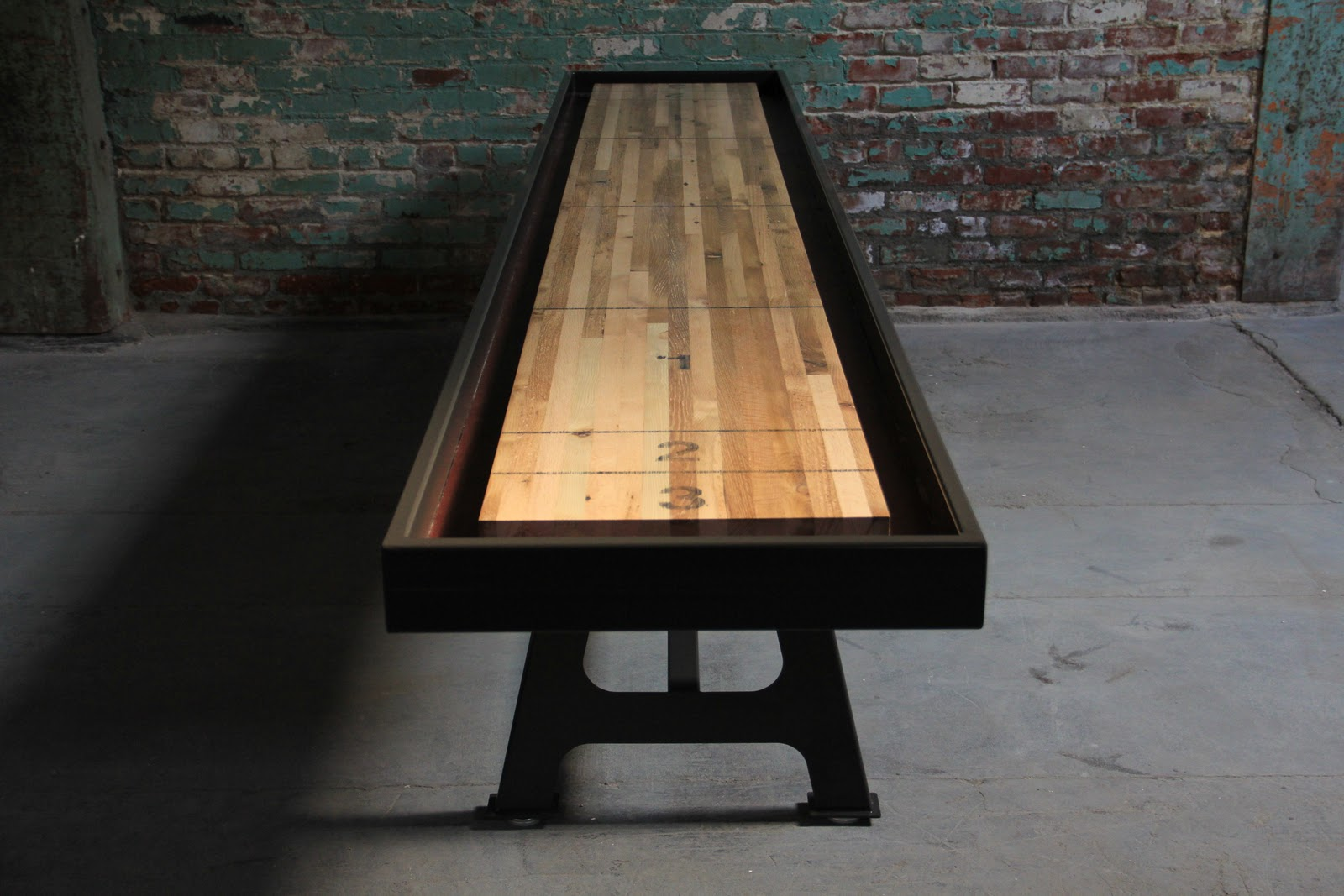 Jocundist Shuffleboard Table Made With Reclaimed Oak On Steel