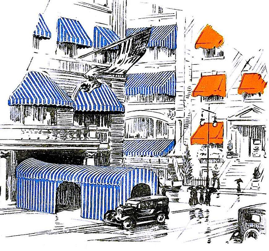 a 1923 hotel awnings color illustration from a catalog