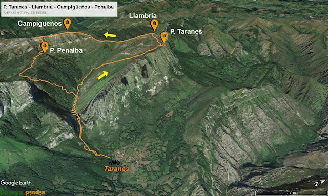 mapa de la ruta a Peña Taranes, Llambria, Campigüeños y Peñalba.