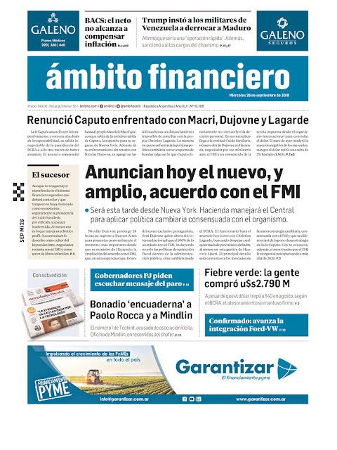 buy popular 6cfe2 c6445 Tapas de los principales periódicos de la república Argentina - Miércoles  26 de Septiembre de 2018 -