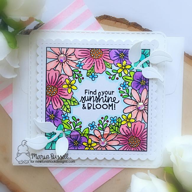 Square Flower Card by Maria Russell | Floral Fringe Stamp Set, Frames Squared Die Set and Flower Trio Die Set by Newton's Nook Designs #newtonsnook #handmade