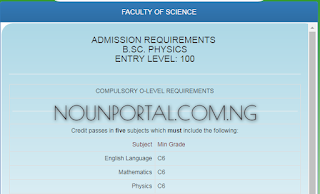 NOUN Admission Requirements - B.Sc. Physics 100, 200 Level Direct Entry Requirements