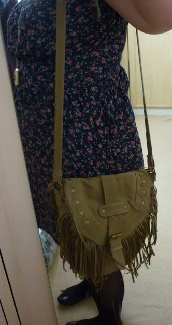 cream suede bag with long strap and tassels