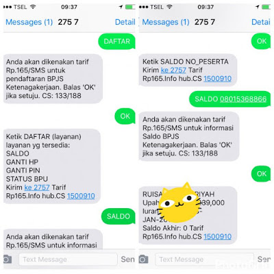 Cek saldo JHT BPJSTK melalui SMS