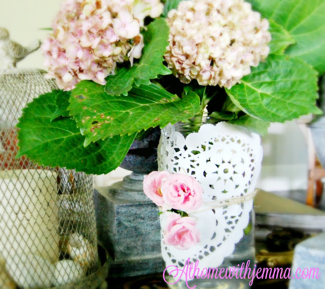 Centerpiece, vignette for farmhouse decorating using hydrangeas and candles
