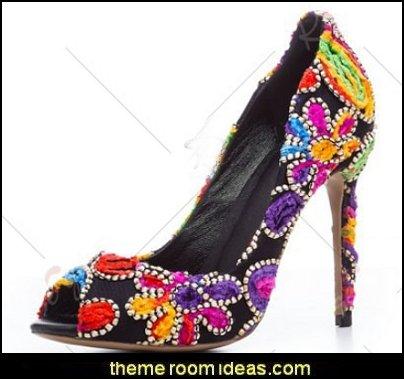 Pump Heels Stiletto Heel Peep Toe Cascading Ruffle Flower Party