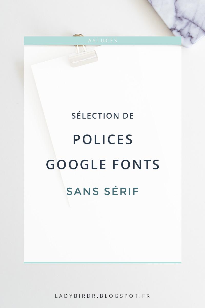 Sélection de polices Google Fonts - Sans sérif