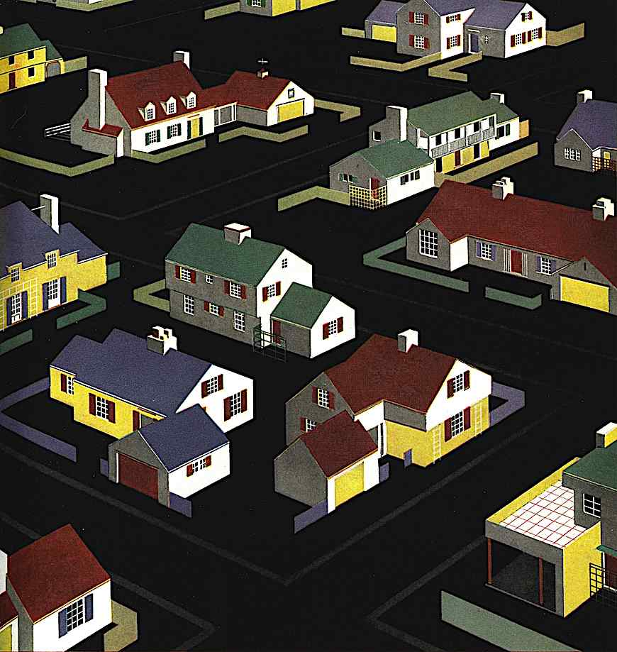 a 1940s suburbs from above. a color illustration