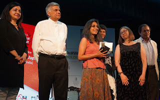 Surina Narula, MBE & Co-founder of the DSC Prize, Ranil Wickremesinghe, Prime Minister of Democratic Socialist Republic of Sri Lanka, Anuradha Roy, Winner of the DSC Prize for South Asian Literature 2016, Karen Allman, Jury Member, and Syed Manzoorul Islam.
