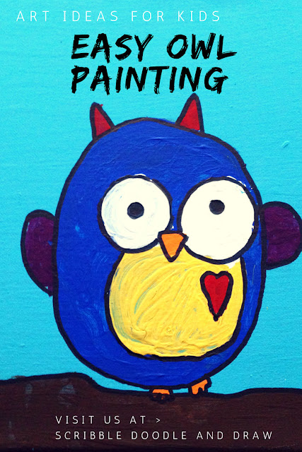 Easy owl painting project for kids