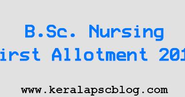 BSc Nursing First Allotment 2014 | Kerala PSC Blog