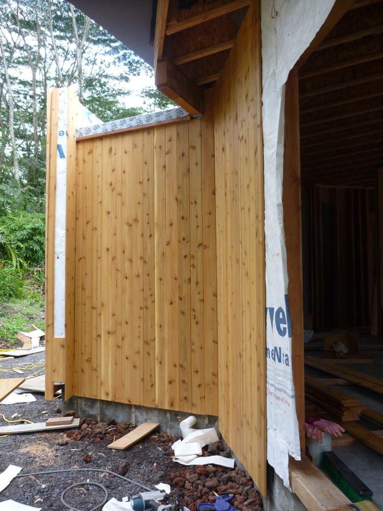 Hawaii House Build: Kitchen and living room wall cedar ...