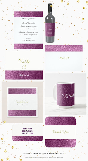 Purple Faux Glitter Wedding Set