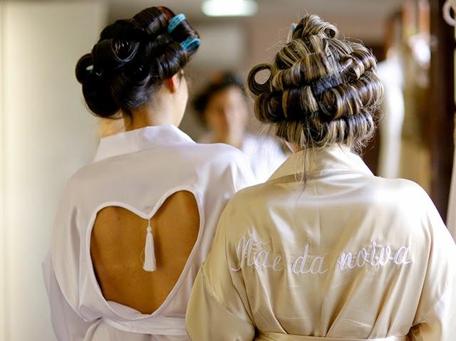 Casamento - Dia da Noiva - Robe de Cetim Noiva e Mãe da Noiva