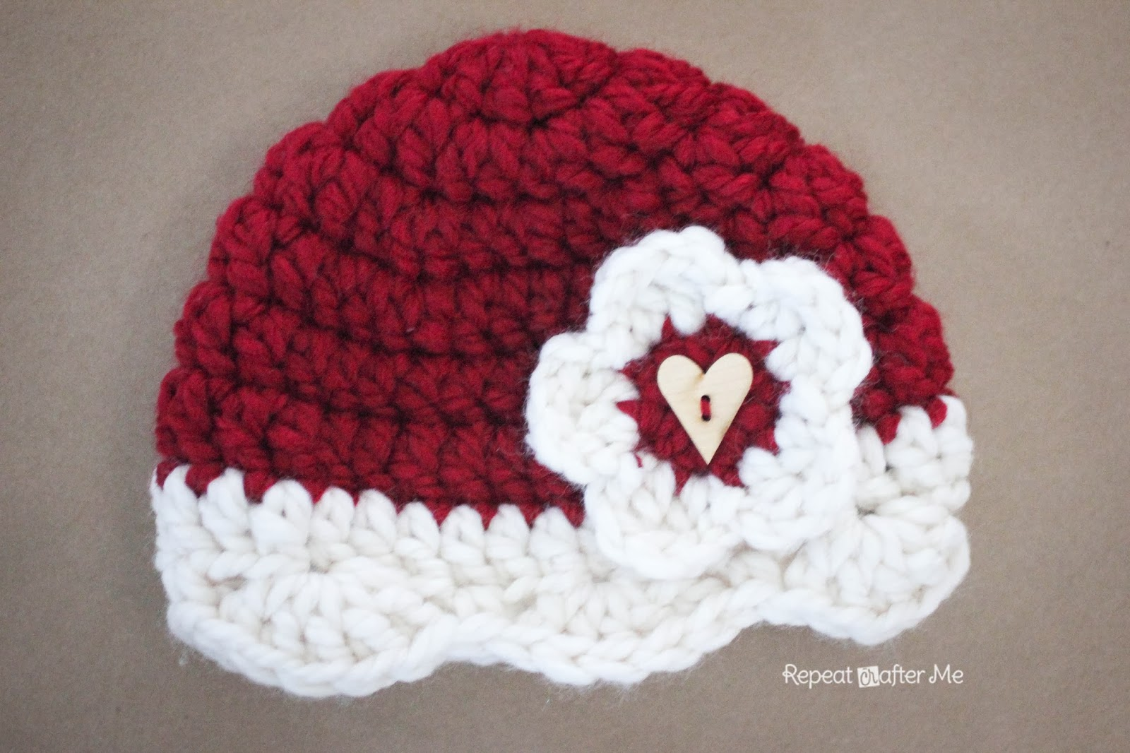 Crochet Valentine Hat Pattern - Repeat Crafter Me