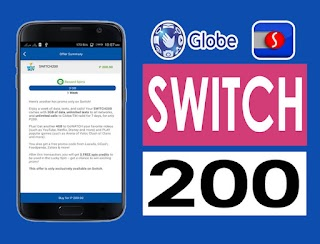 Globe SWITCH200 – 3GB Data, 4GB GoWATCH / Play, Unli call and All-net SMS