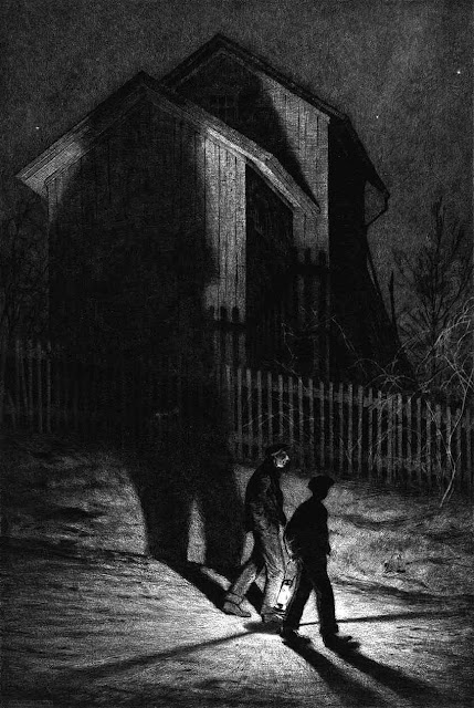 Martin Lewis 1932 print of two men walking with a lantern