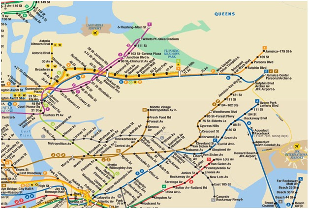 Astoria Subway Map.Queens Metro Map Time Zones Map