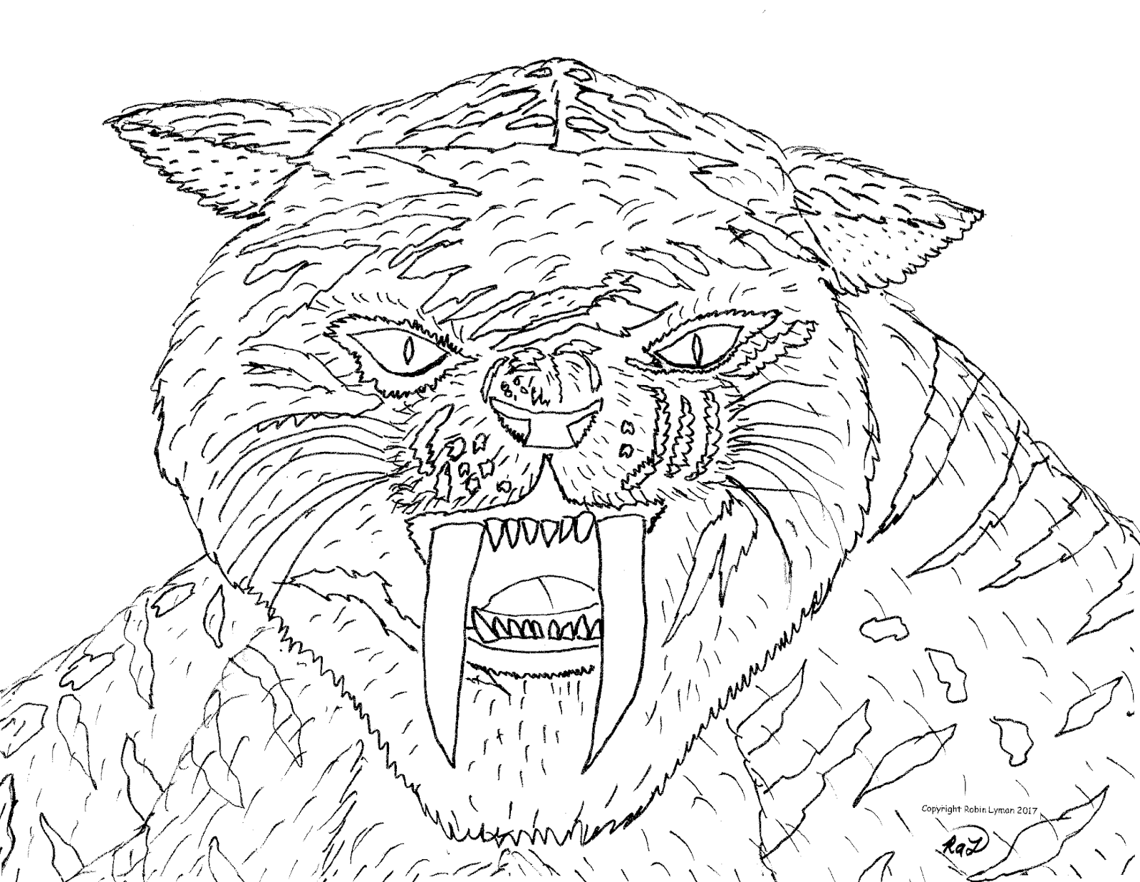 saber tooth coloring pages | Robin's Great Coloring Pages: Smilodon Saber Tooth Cats
