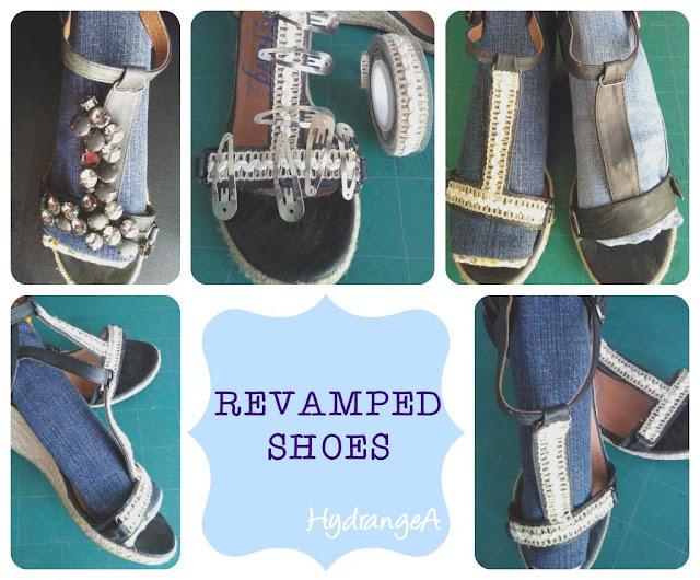 Reciclaje de sandalias de verano con cinta de esparto y cola de contacto.
