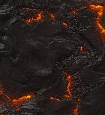 penampakan lava di bawah permukaan gunung berapi