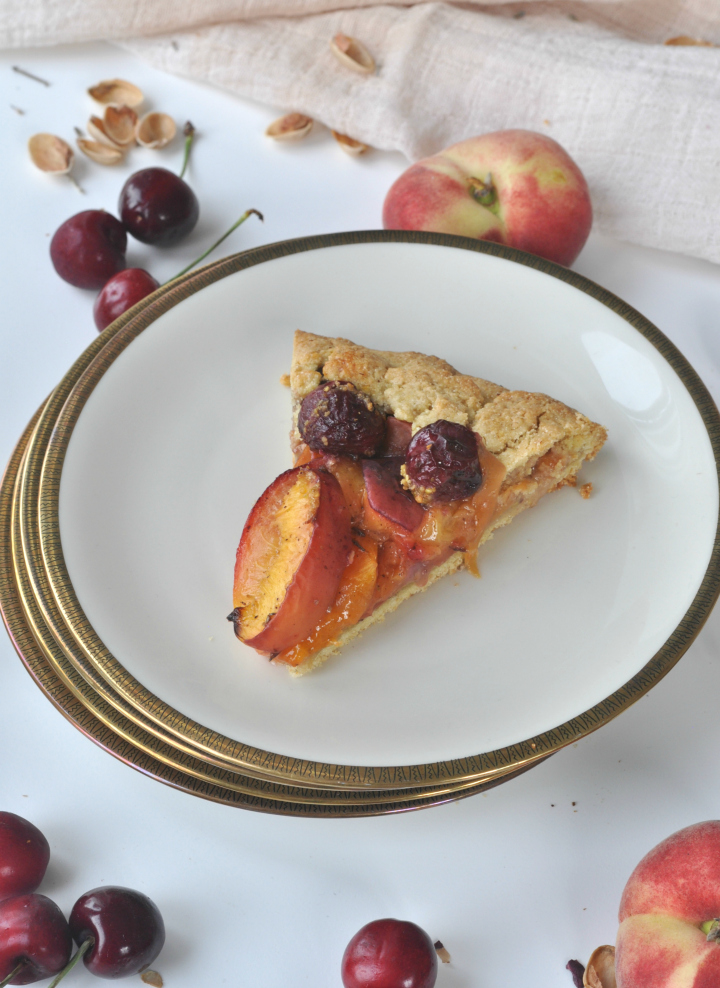 summerly Galette with stone fruits, pistachios and lavender, the taste of Provence combined in a sweet treat