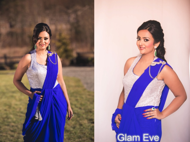 saree gown, seattle boutique, ananya in a saree, beautiful indian girl in saree, indo western look, blue saree, blue gown
