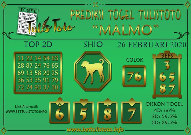 Prediksi Togel MALMO TULISTOTO 26 FEBRUARI 2020