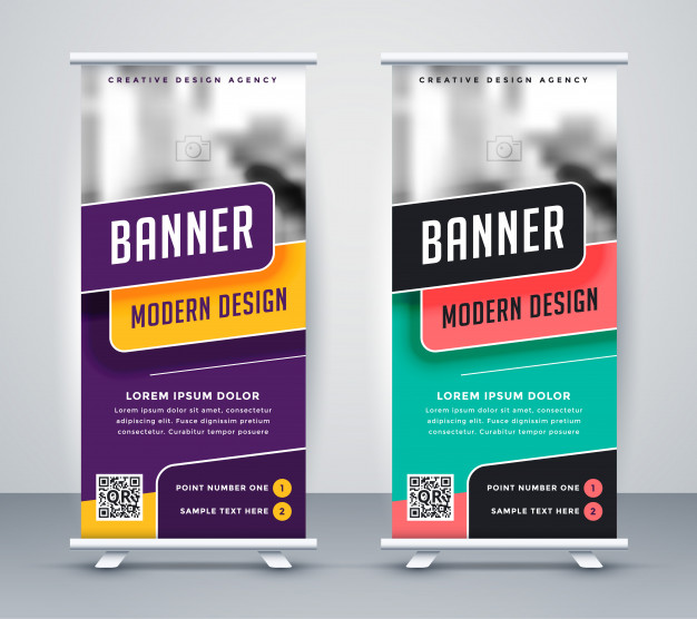 Trendy rollup creative banner design template Free Vector