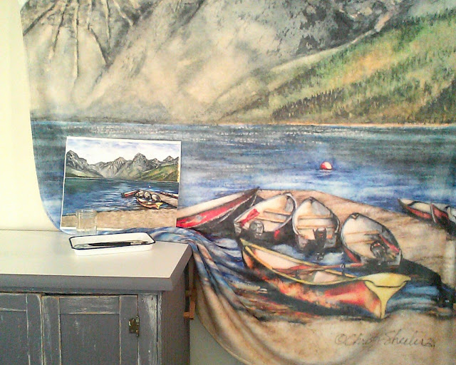 Boats On Lake McDonald Copyright 2016 Christy Sheeler Artist.  All Rights Reserved.
