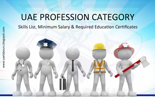 UAE Profession categories and skill level