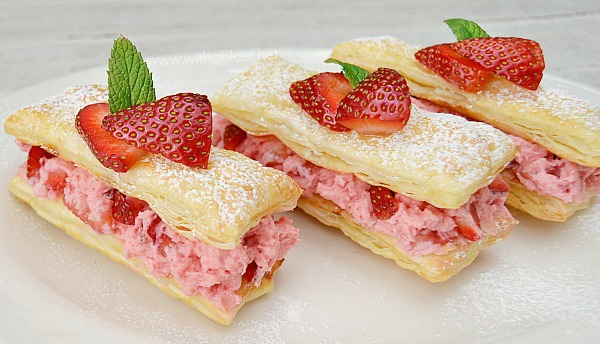 Strawberry Cream Pastries ~ Quick, easy and delicious filling will make these flaky Pastries an immediate hit with all and perfect for Valentines Day !