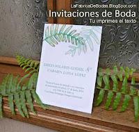 Vendedores diseño de  invitaciones con hojas para boda en guatemala tarjetas imprimibles de boda con helechos follaje verde.