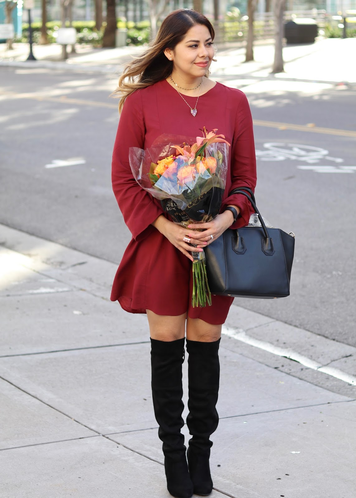 What to wear to brunch, fall outfit, steve madden over the knee boots