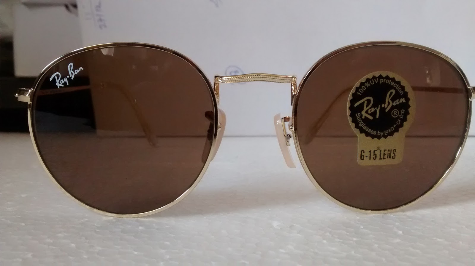 c12d5bf69e8 Ray Ban Round Metal. Gold Frame BrownLens. UNISEX both for Men Women. Price  1300 Only. Email  doorshopping gmail.com